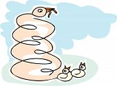 picture of mother goose  - Scribble mother goose with worm and chicks - JPG