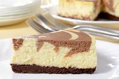 picture of dessert plate  - macro chocolate swirl cheesecake on a plate - JPG