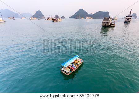 Tourist boat on Halong bay
