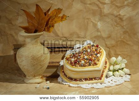Beautiful still life with vintage casket