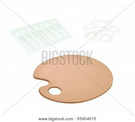 Set Of Wooden Palette And Plastic Palettes