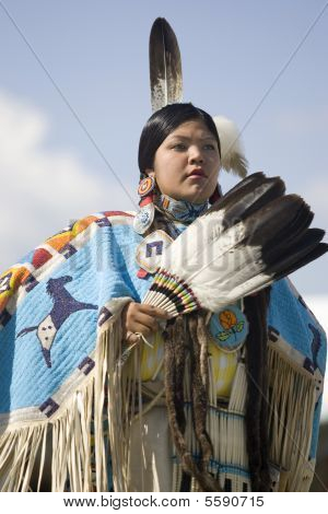 Portrait of Native American woman.