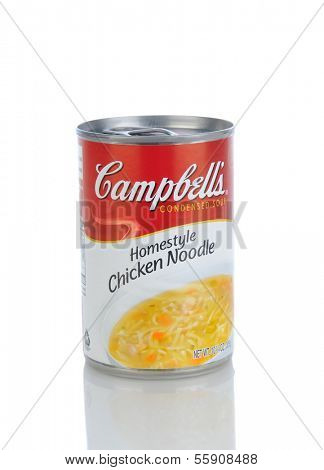 IRVINE, CA - JANUARY 11, 2013: A can of Campbells Condensed Chicken Noodle Soup. Headquartered in Camden, New Jersey, Campbell's products are sold in 120 countries around the world.