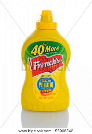 IRVINE, CA - JANUARY 11, 2013: A 20 oz. bottle of  French's Classic Yellow Mustard. The popular condiment made its debut to the world at the 1904 St. Louis World's Fair.