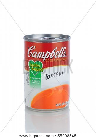 IRVINE, CA - JANUARY 11, 2013: A can of Campbells Condensed Tomato Soup. Headquartered in Camden, New Jersey, Campbell's products are sold in 120 countries around the world.