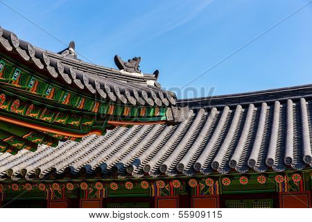 Traditional korean architecture roof eave