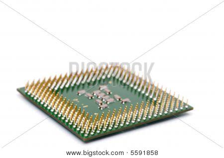 Horizontal Shallow Focus Close Up Of A Computer Cpu Chip