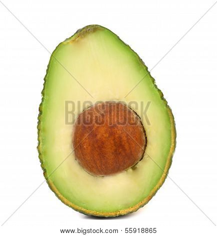 Half of avocado isolated on white background