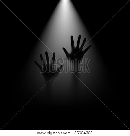 Hands in backlight.