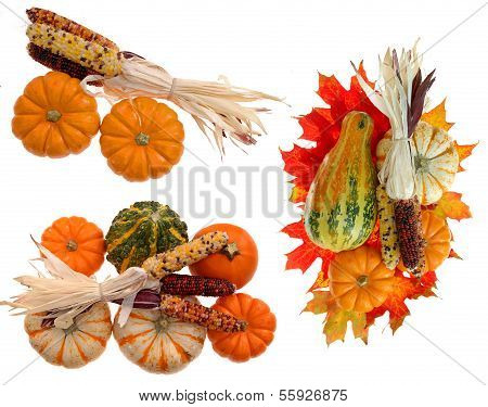 Three Harvest Decoration With Pumpkin, Corn, And Squash