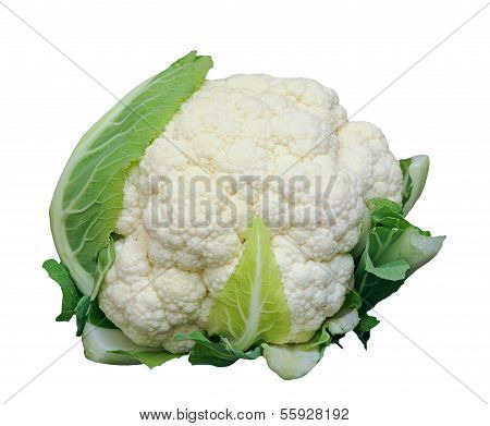 Single Whole Cauliflower Isolated On White Background