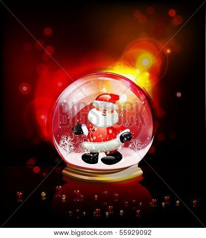 Christmas ball with Santa, realistic vector template