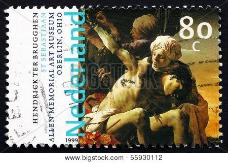 Postage Stamp Netherlands 1999 St. Sebastian, By Hendrick Ter Br