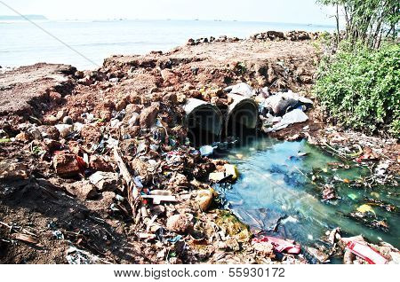 Toxic plastic sewer flowing into the sea
