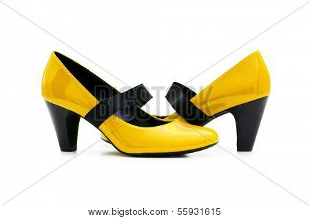 Female shoes on white background