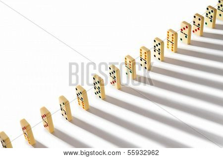 Domino effect with many pieces