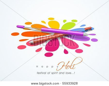 Beautiful Indian color festival Holi background with pichkari on colorful floral decorated background.