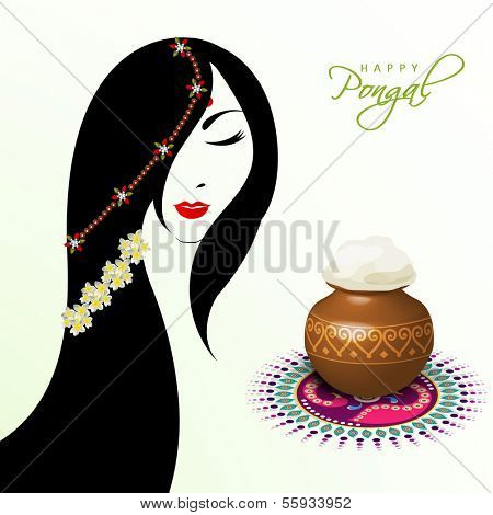 Illustration of a beautiful woman with pongal rice in a traditional mud pot on floral design called rangoli on occasion of Happy Pongal, harvest festival celebration in South India.