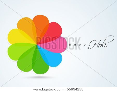 Indian color festival Holi concept with colorful floral and text Holi on blue background.