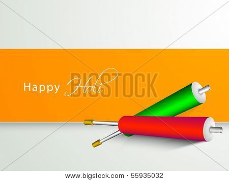 Indian color festival Holi celebration background with pichkari (colorgun) on green and yellow background.