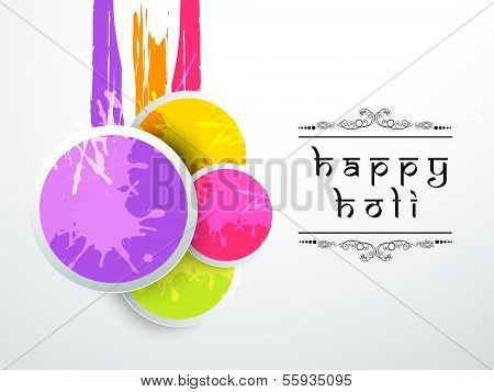 Indian festival Happy Holi celebration concept with glossy shiny balls, colors splash and stylish text on grey background.
