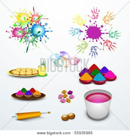 Indian festival Happy Holi celebration set with colors, sweets and pichkari on abstract blue background.