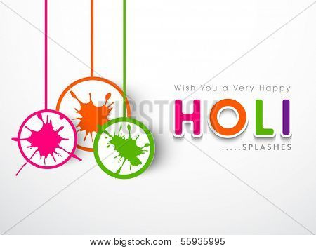 Beautiful Indian color festival Holi celebration sticker, tag or label with color splash on grey background.