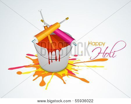 Indian festival Happy Holi celebration concept with bucket with full of colors, pichkari on grungy color splash background.