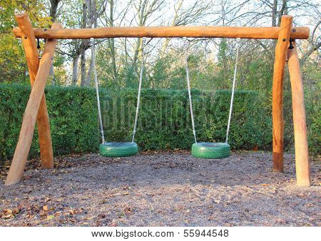Double Swing At Public School Playground