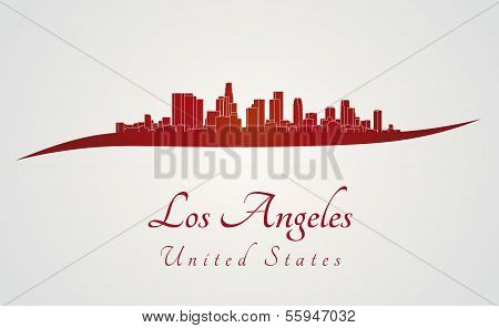 Los Angeles Skyline In Red