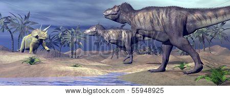 Tyrannosaurus attacking triceratops - 3D render