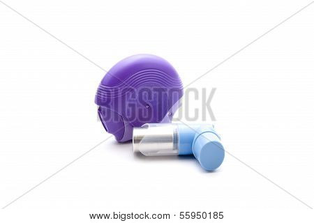 Asthma Inhaler for Inhale on white background