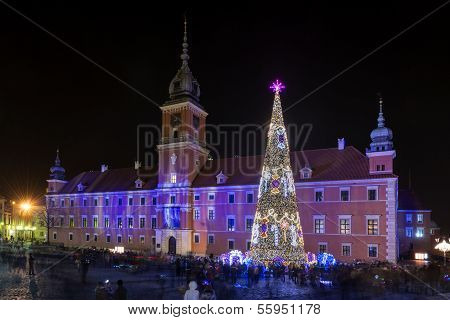Royal Castle In Warsaw During Christmas Time