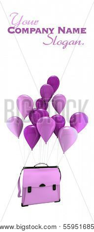 3D rendering of a group of pink balloons carrying  a schoolbag
