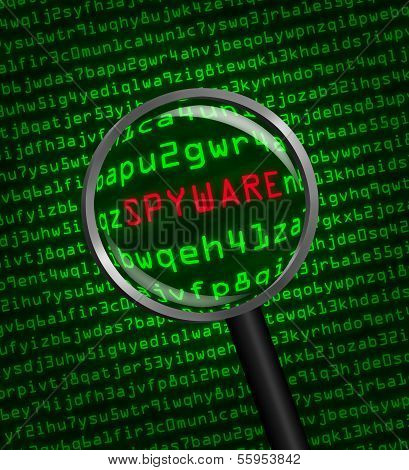 Magnifying Glass Locating Spyware In Computer Code