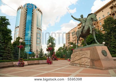 Bagration's Memorial Square In Moscow City. Summer.