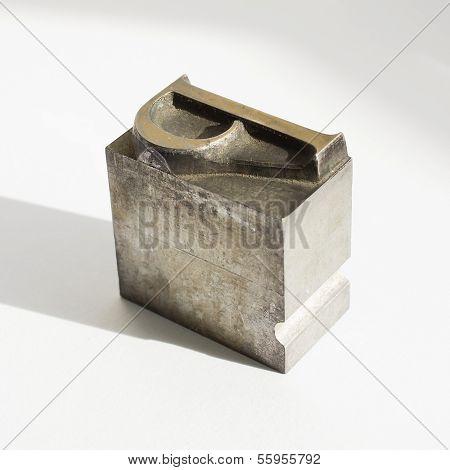 Original Metal Letter P On White Background