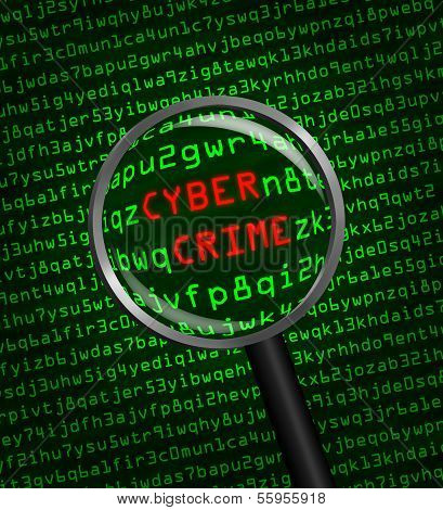 Cyber Crime Revealed In Computer Machine Code Through A Magnifying Glass