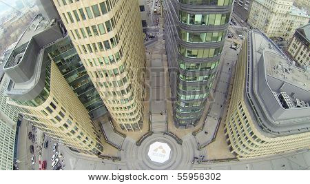 MOSCOW, RUSSIA - NOV 02, 2013: (view from unmanned quadrocopter) Modern White Square Office Center. White Square Office Center is located in center of city and was built in 2007.