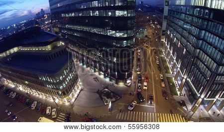 MOSCOW, RUSSIA - NOV 02, 2013: (view from unmanned quadrocopter) White Square Office Center at night. White Square Office Center is located in center of city and was built in 2007.