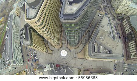 MOSCOW, RUSSIA - NOV 02, 2013: (view from unmanned quadrocopter) Above view of White Square Office Center. White Square Office Center is located in center of city and was built in 2007.