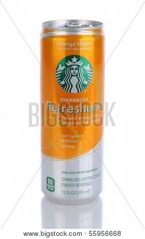 IRVINE, CA - JANUARY 11, 2013: A  can of Starbucks Orange Melon Refreshers Energy Beverage. Seattle based Starbucks is the largest coffeehouse company in the world, with 20,000 stores in 62 countries.