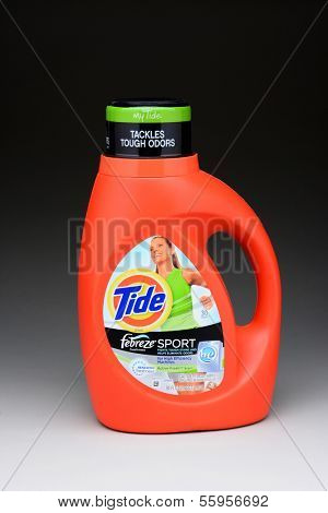 IRVINE, CA - JANUARY 11, 2013: A 50 ounce bottle of Tide Febreze Sport Laundry Detergent. Tide has more than 30% of the liquid-detergent market, with more than twice the in sales as the next brand.