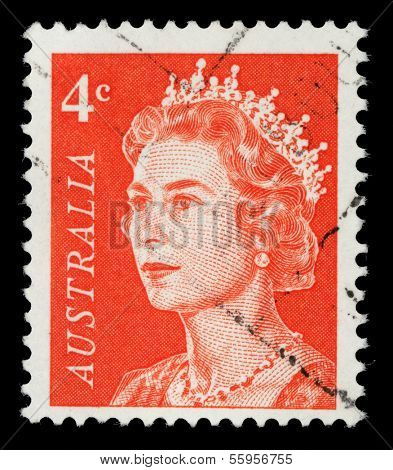 AUSTRALIA - CIRCA 1966: A stamp printed in Australia shows a portrait of Queen Elizabeth II, circa 1966.