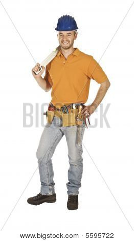 Standing Worker Isolated On White
