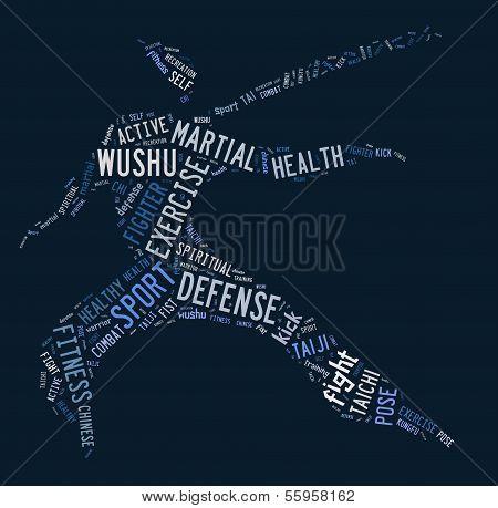 Wushu Word Cloud With Blue Wordings