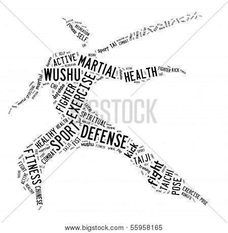 Wushu Word Cloud With Black Wordings