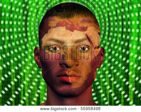 African Male with Africa superimposed and binary code