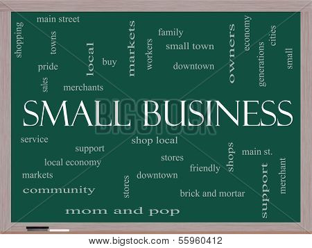 Small Business Word Cloud Concept On A Blackboard