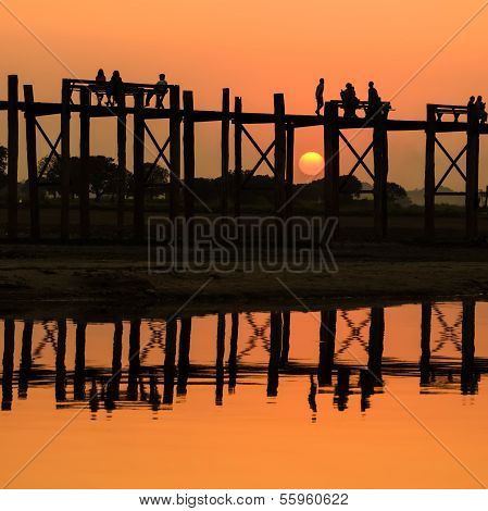 U Bein Bridge At Sunset , Myanmar